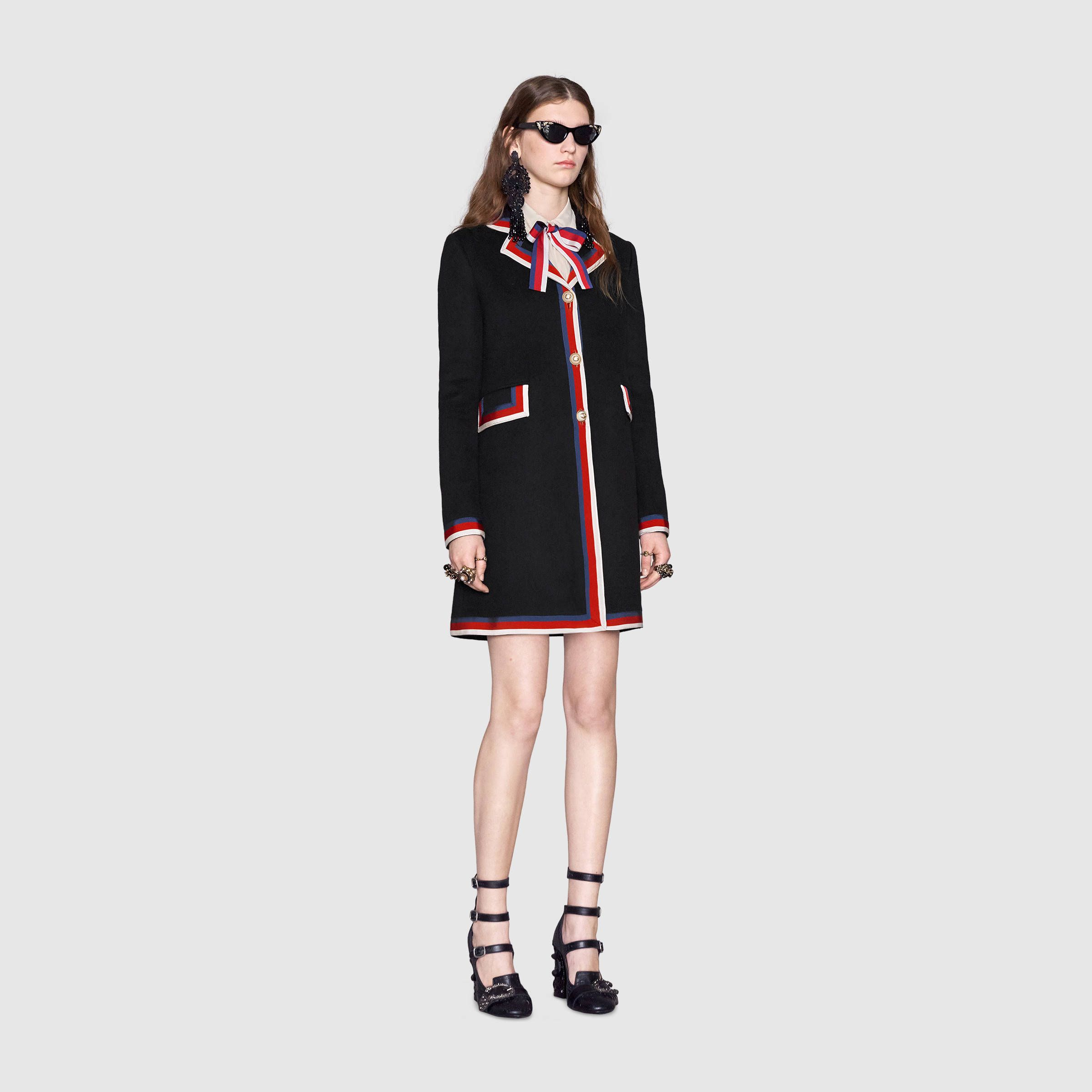 Gucci Wool coat with Sylvie Web Detail 2