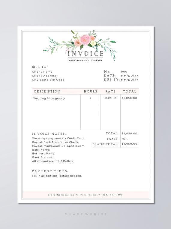 Wedding Photography Business Plans: Photography Invoice Template / Printable Invoice Template