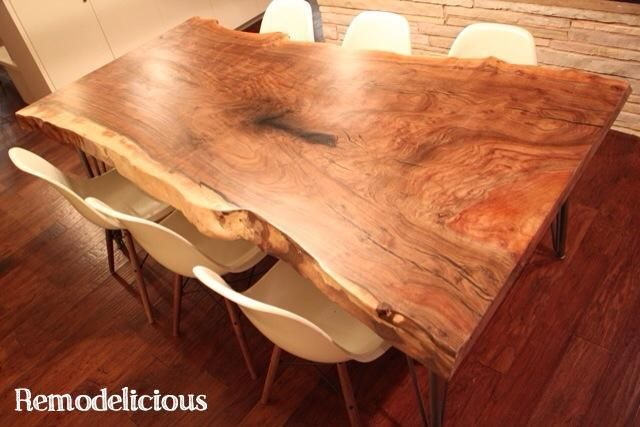 our diy live natural edge walnut slab dining table remodelicious pinterest esszimmer. Black Bedroom Furniture Sets. Home Design Ideas