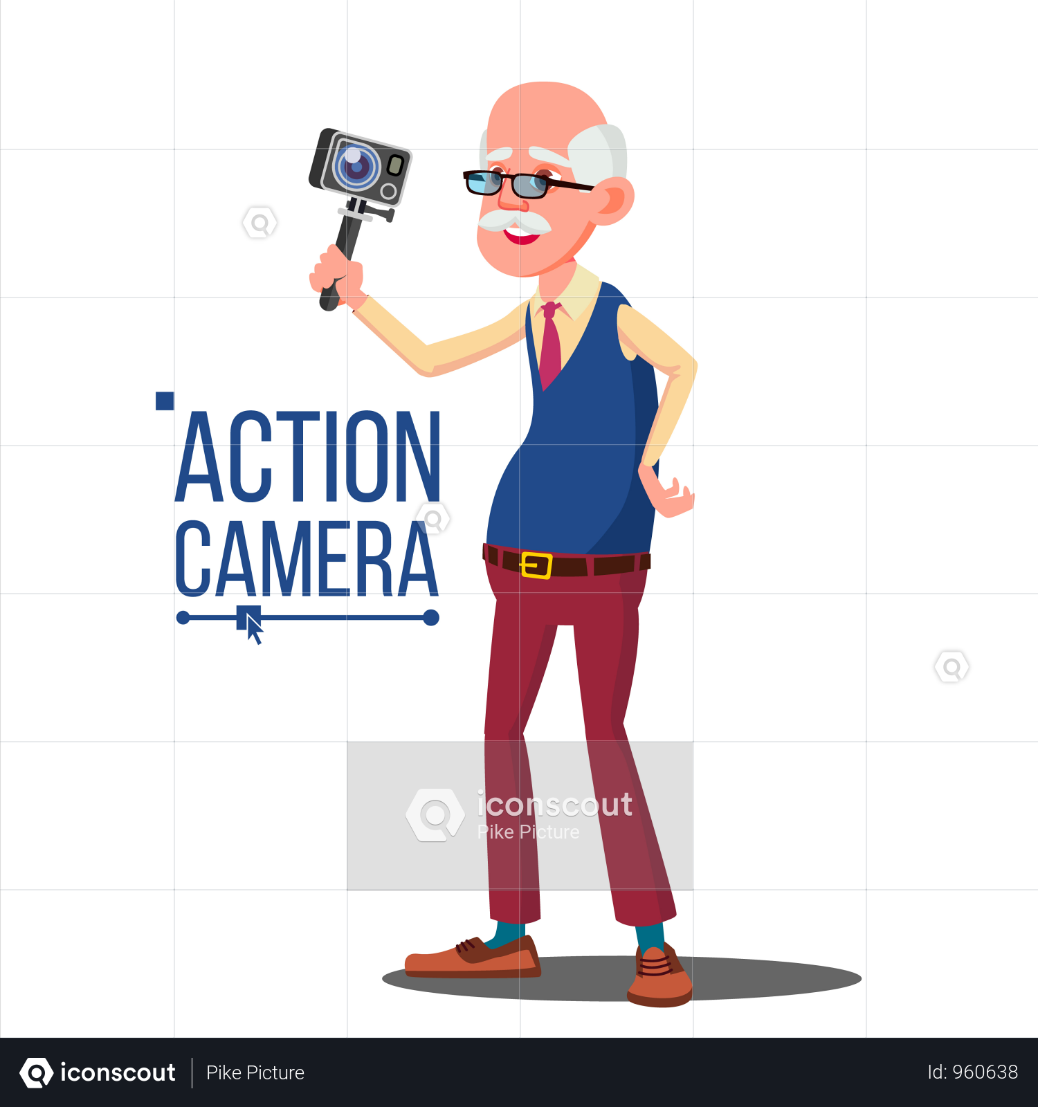 Premium Old Man With Action Camera Illustration Download In Png Vector Format Camera Illustration Action Camera Retro Camera