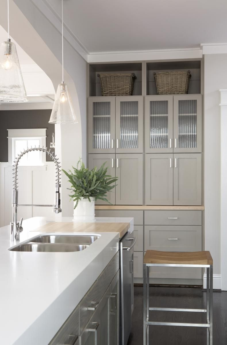 Greige Cabinets And Thick Counters Kitchen In 2019 Taupe Kitchen