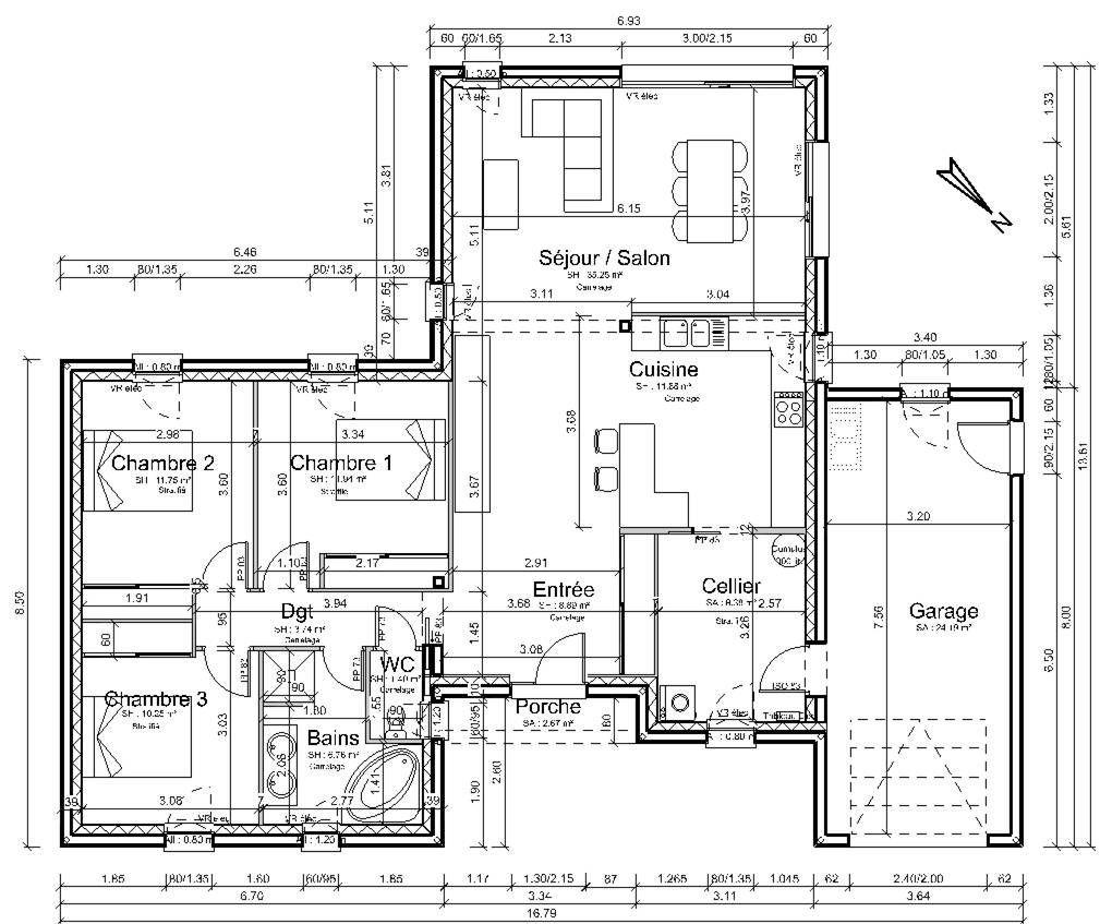 461504.jpg (1020×847) | Plan construction maison, Modele maison plain pied, Plan maison