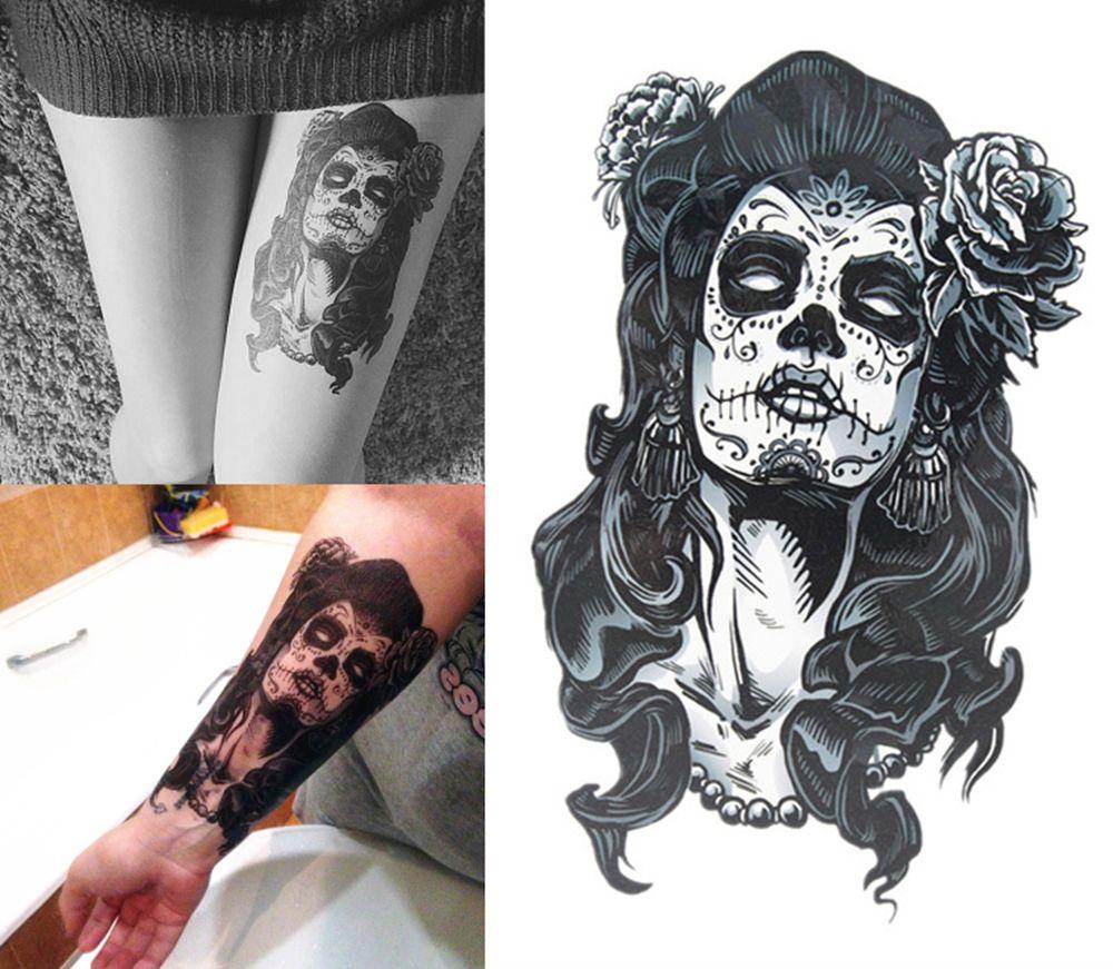 갱스터 장미 문신 소녀 21X15 CM 크기의 섹시한 멋진 아름다움 문신 방수 핫 임시 문신 스티커
