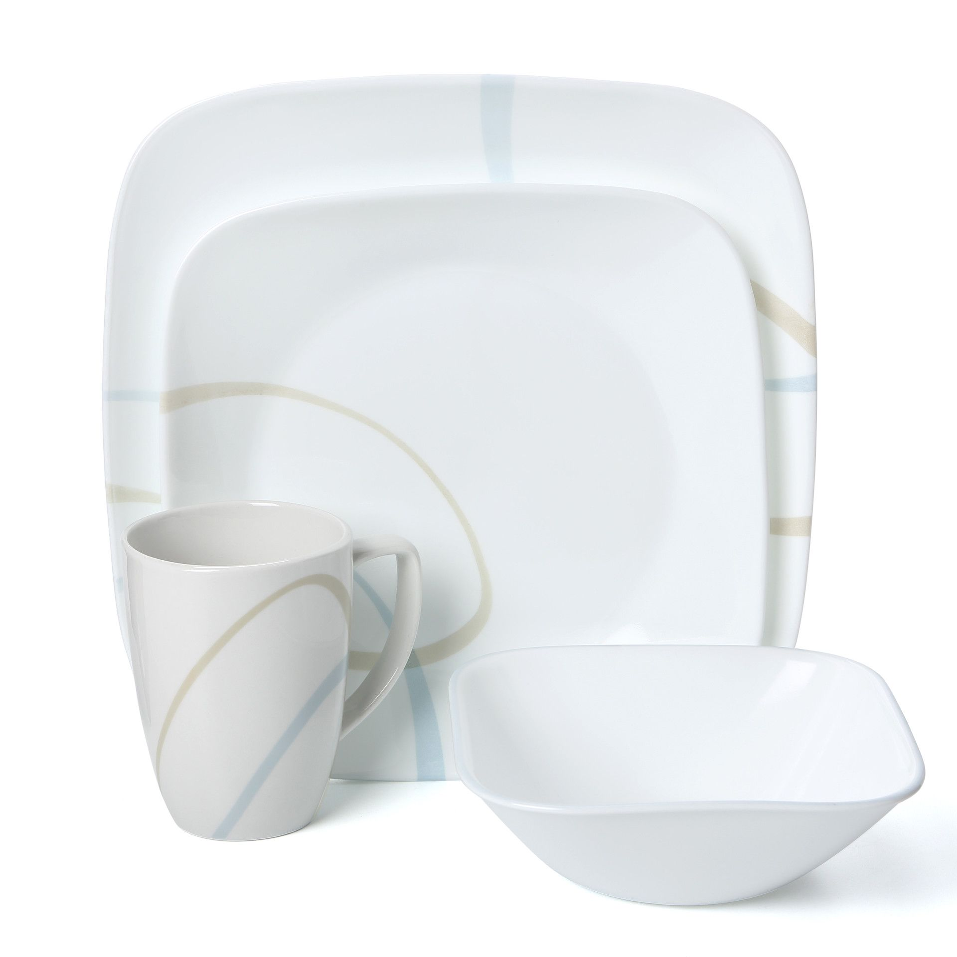 Corelle Square Sand And Sky 16 Piece Dinnerware Set Reviews