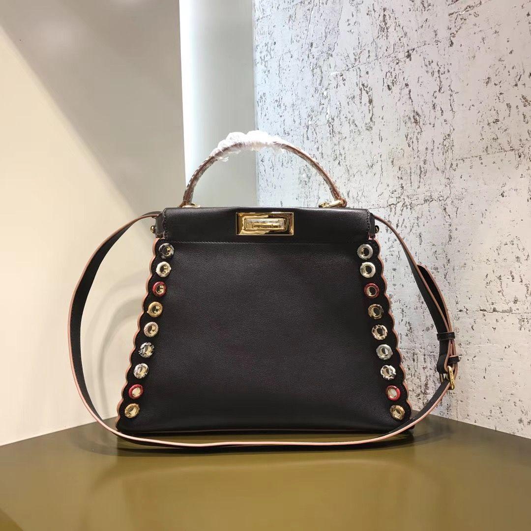 c9359eb09fb8 Fendi Leather Elaphe Peekaboo Medium Bag Decorated With Multicolor Grommets  Black 2017