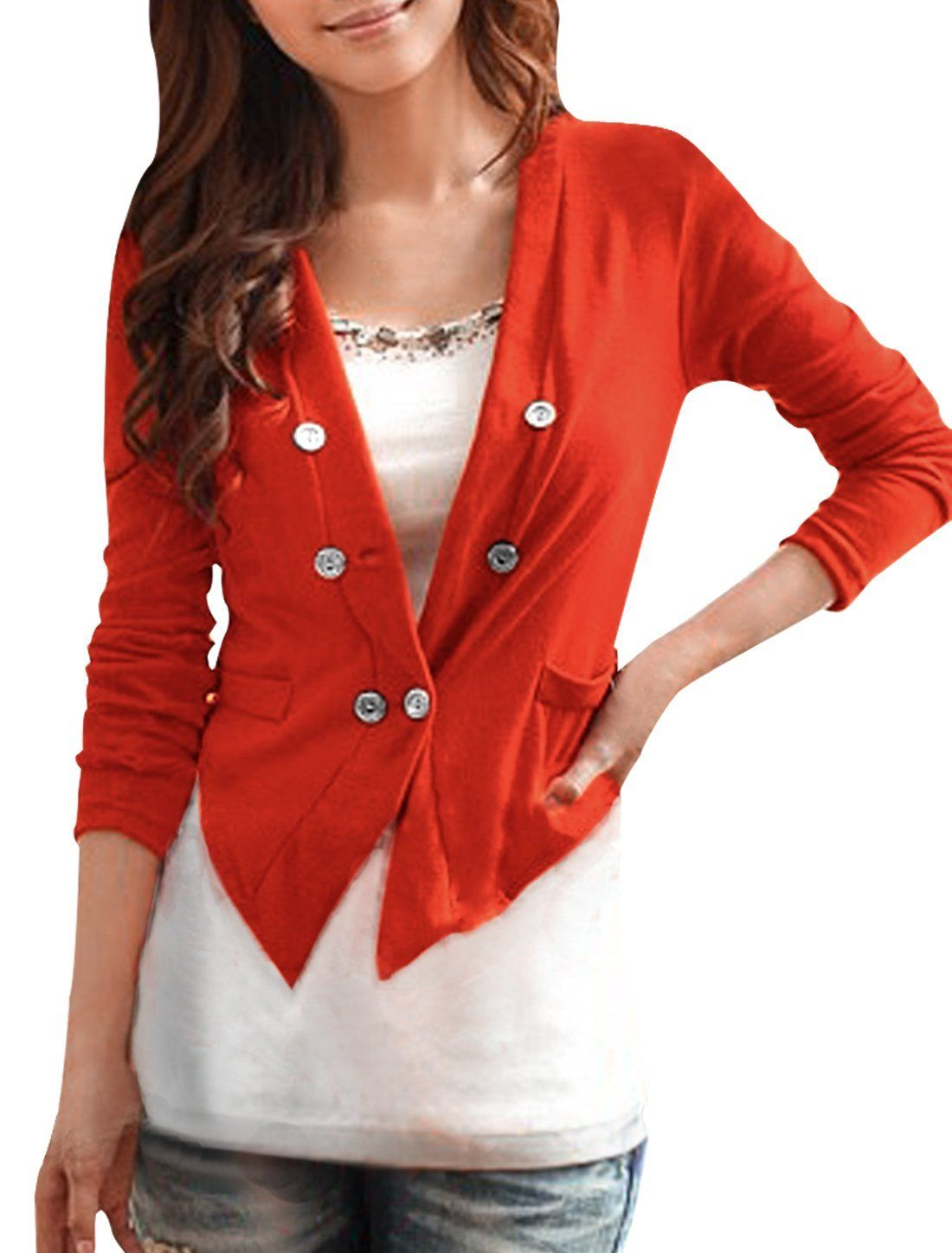 Women Deep V Neck Button Up Autumn Thin Cropped Cardigan           ($12.56) http://www.amazon.com/exec/obidos/ASIN/B008SCLAW4/hpb2-20/ASIN/B008SCLAW4 Looks soooo cheap!!!! - The buttons are a little cheap looking, and the color is a little off from the pictures but still cute. - So there's a hole right at the front.