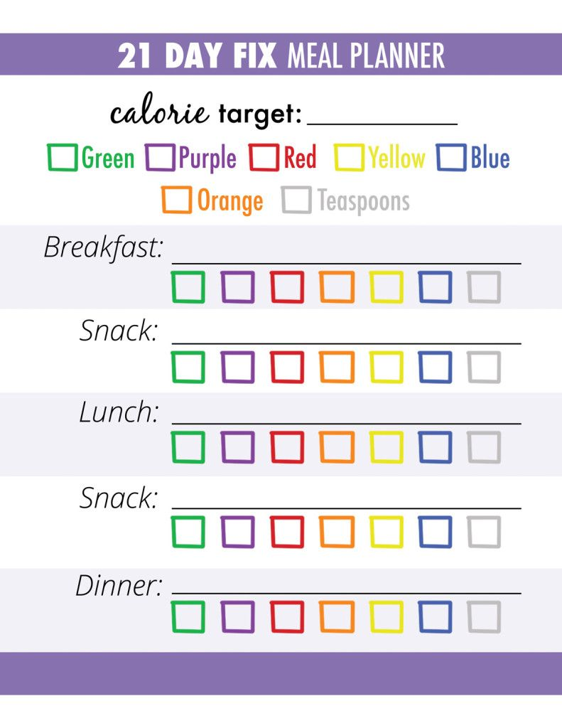 21 day fix meal tracker and grocery list 21 day fix meal