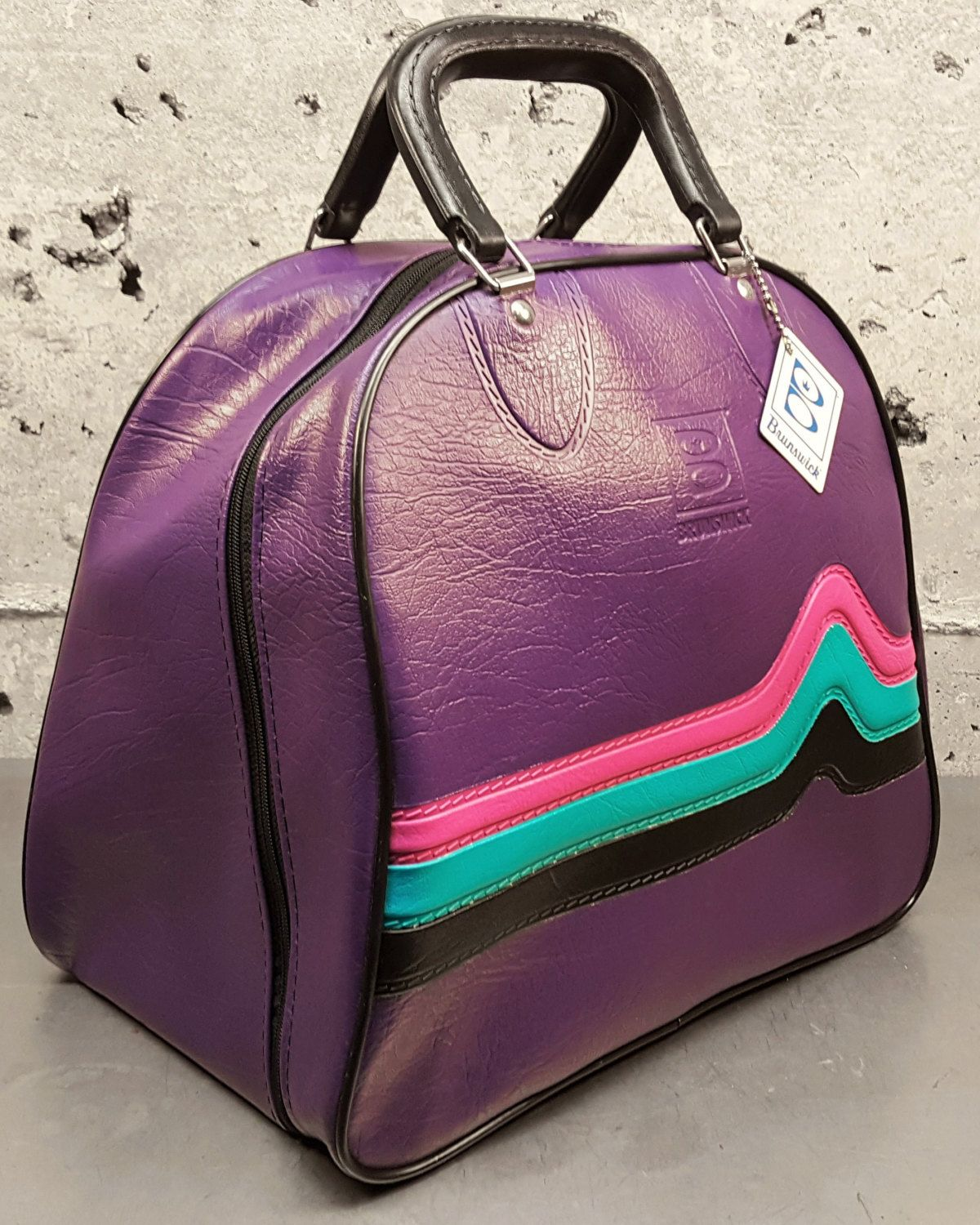 85d4fbefc7 Vintage 80 s Retro Purple Brunswick Bowling Ball Bag w Pink