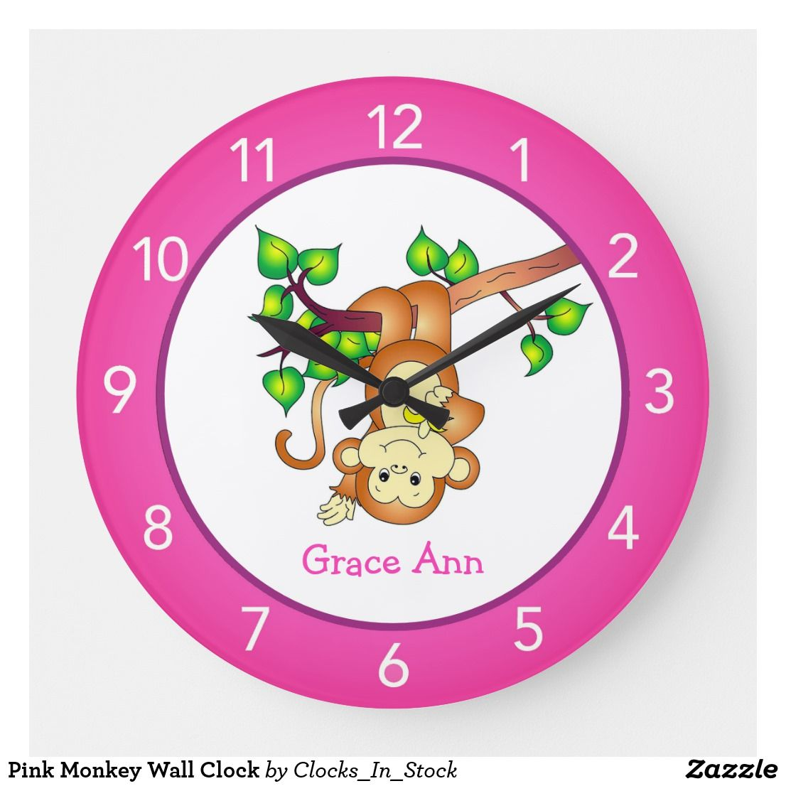 Pink Monkey Wall Clock Zazzle Com Monkey Wall Pink Monkeys Wall Clock