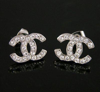 Chanel Cc Earrings Sterling Silver Clic
