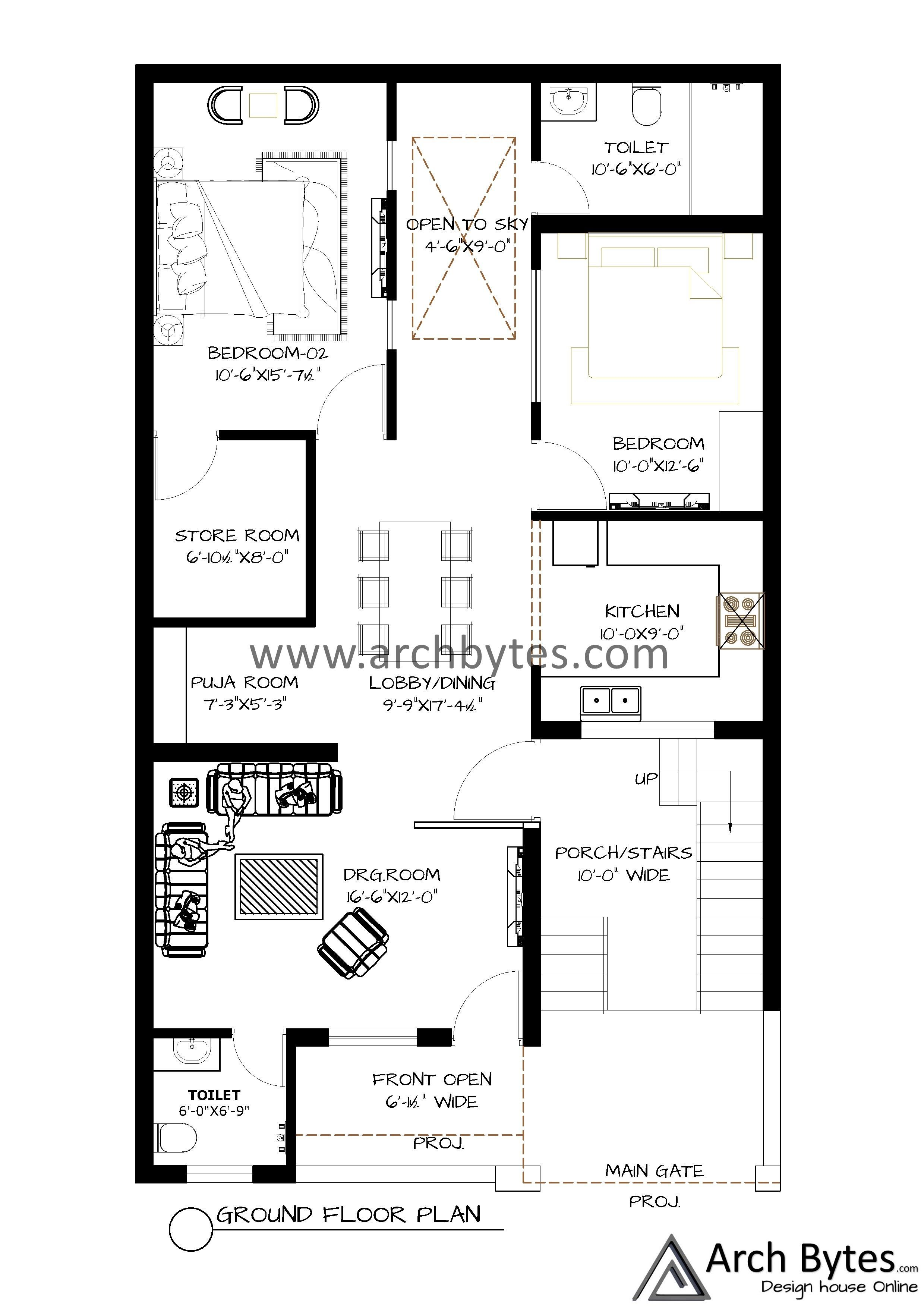 House Plan For 29x50 Feet Plot Size 161 Square Yards Gaj House Plans How To Plan House Design