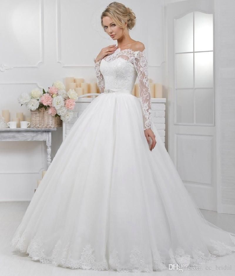 9defd90740b Country Style Modest Wedding Dresses With Long Sleeves Bohemian Lace Puffy Tulle  Wedding Gowns 2017 Cheap