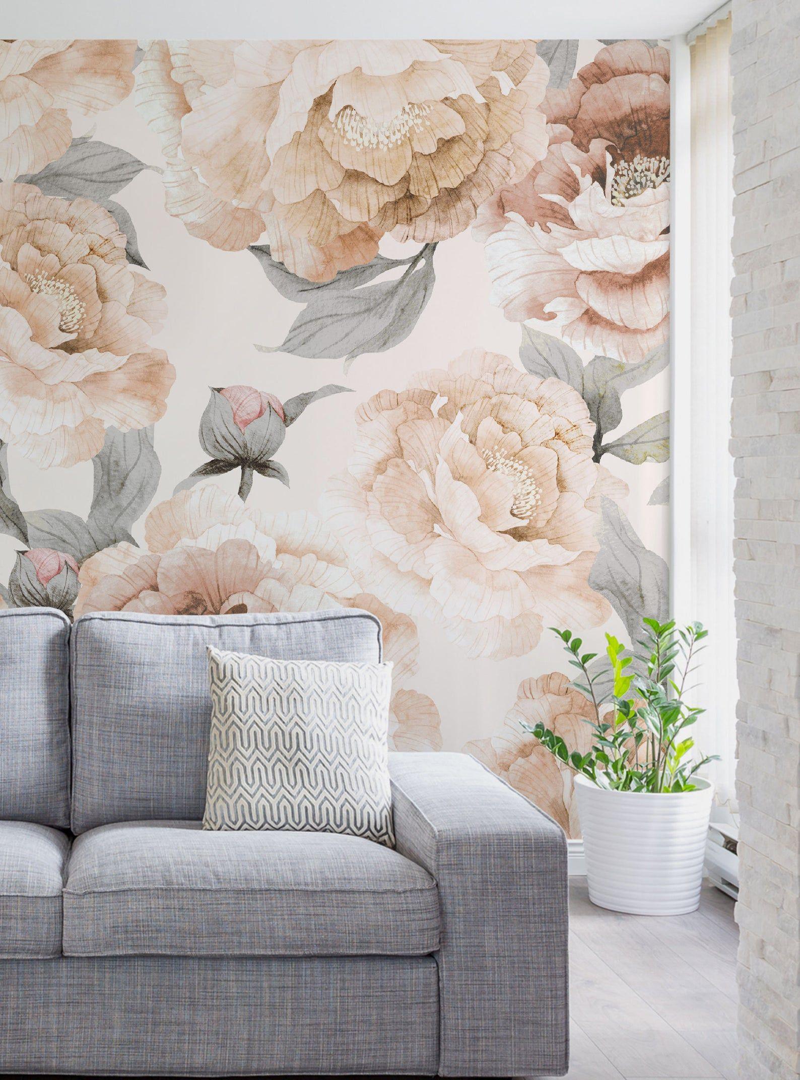 Bloom Flower Mural Wallpaper, Light Grey, Watercolor