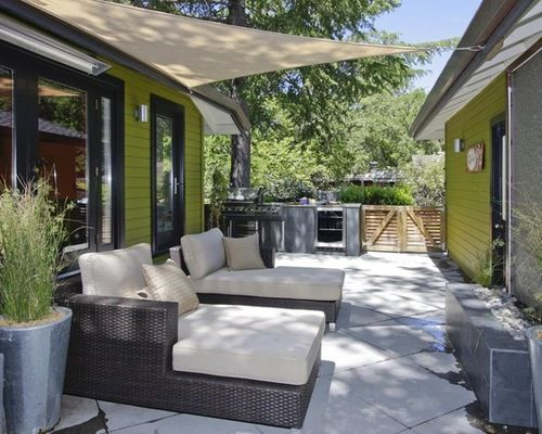 Patio Shade Sails Between Home And Garage. Perfection!