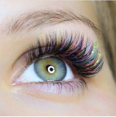 Purple red green plus glittered lashes | eyelashes in 2019
