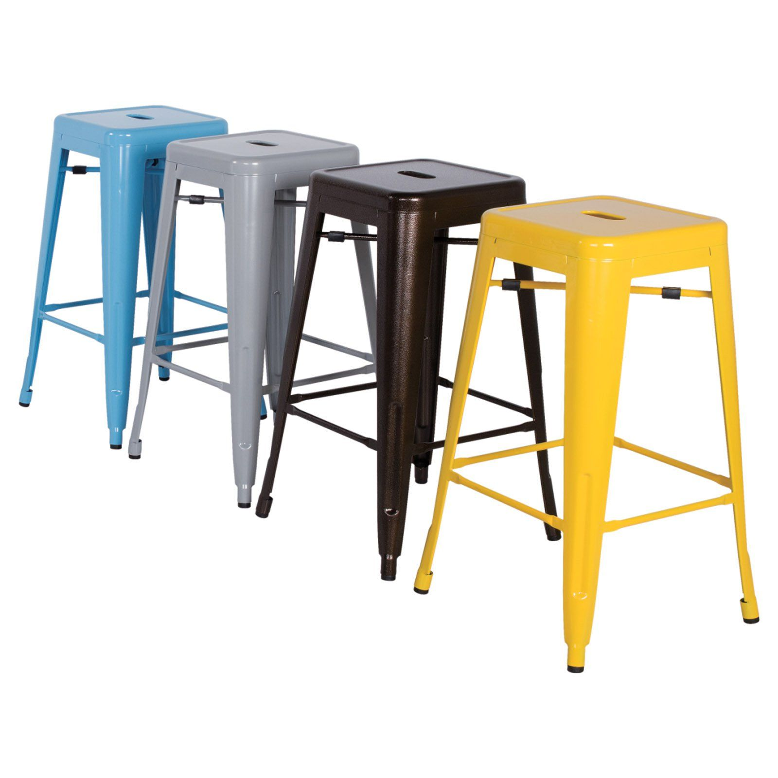 Chintaly Tremont 30 in Galvanized Steel Backless Bar Stools Set