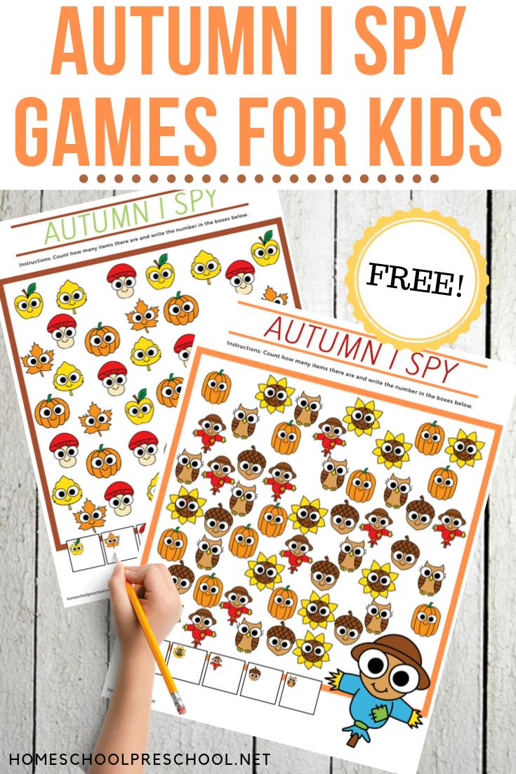 Autumn I Spy Preschool Game Preschool Games Spy Games For Kids Fall Preschool Activities [ 1102 x 735 Pixel ]