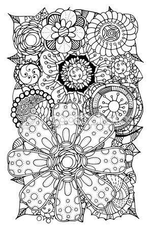 Doodle de flores y hojas — Vector de stock   Brand new coloring ...