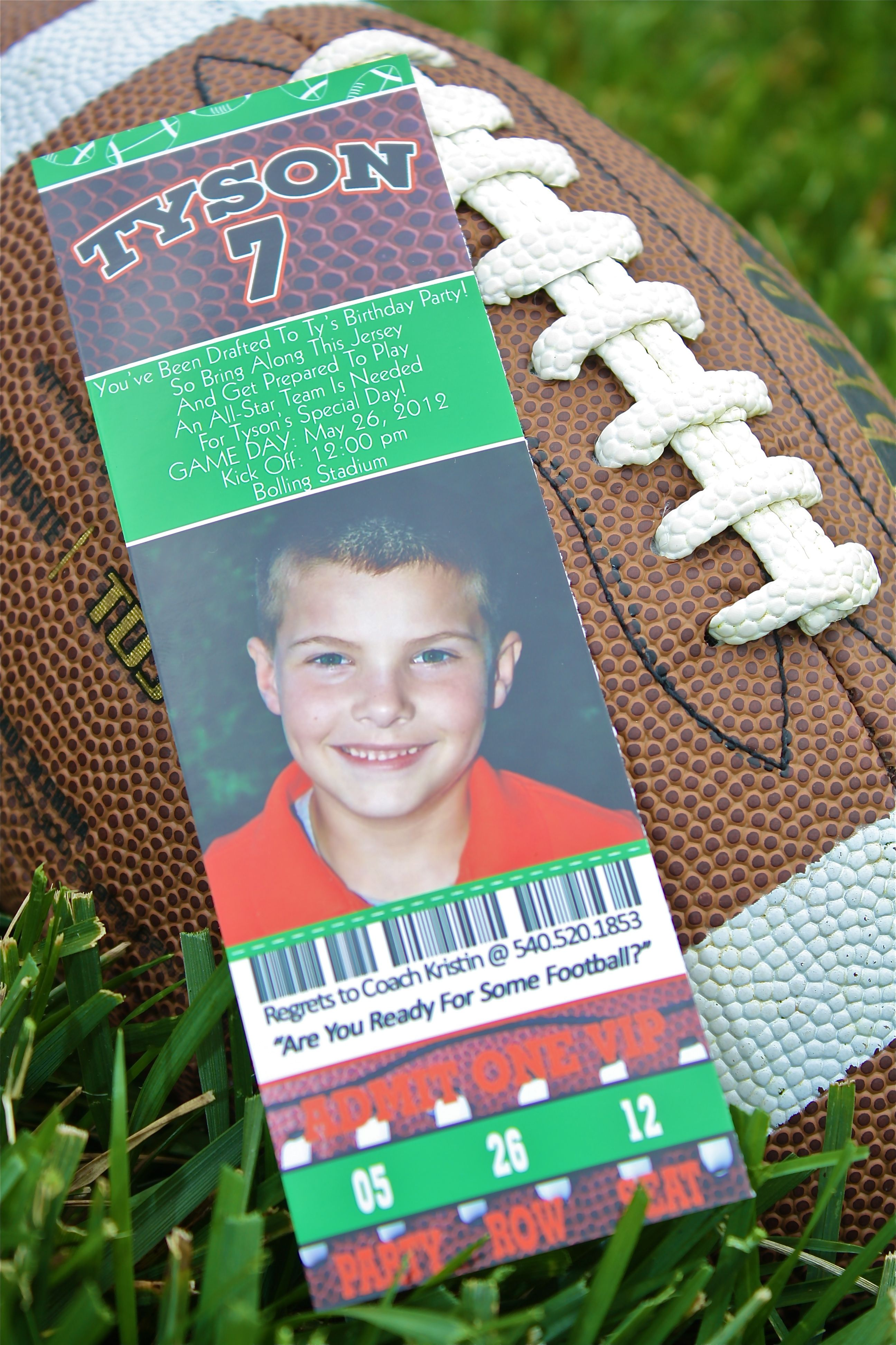 invitation words forst birthday party%0A AllSports Party  Football   Ticket    Invitation  Wording on invite reads