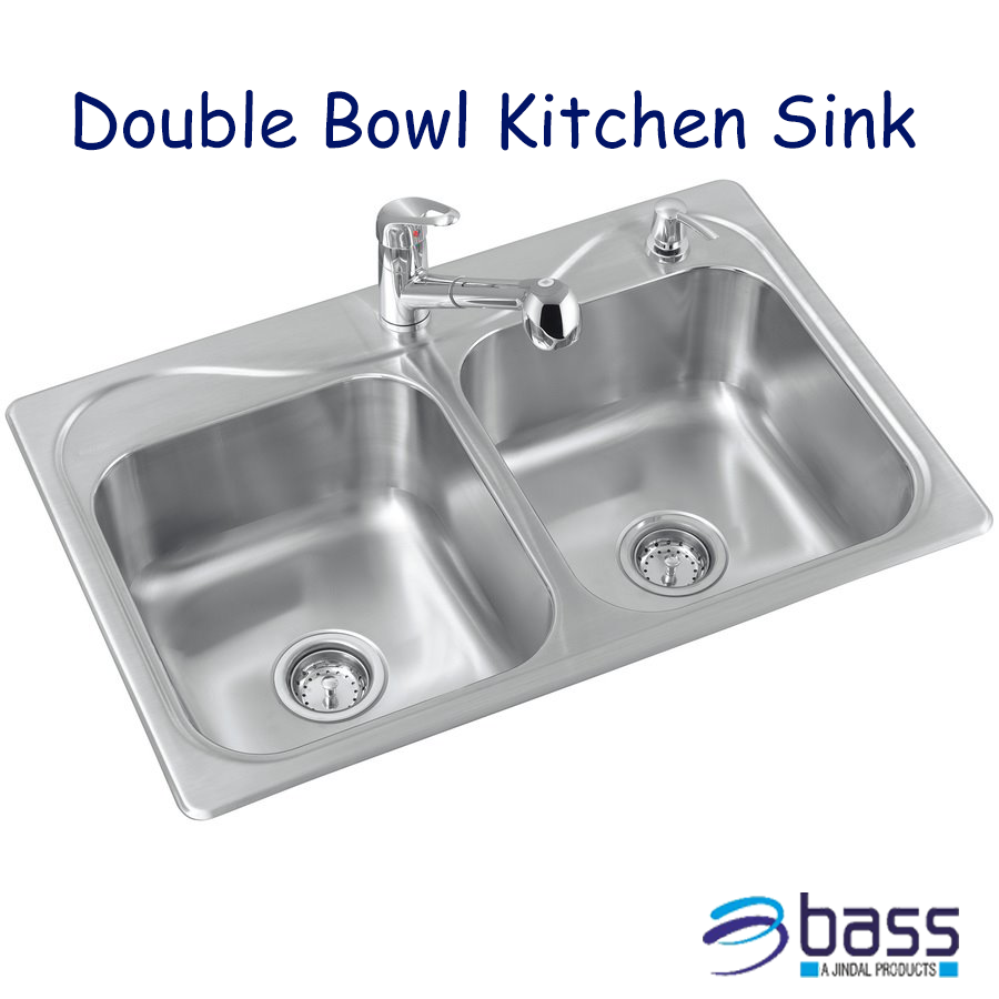 Double Bowl With Drain Steel Kitchen Sink With Images Double