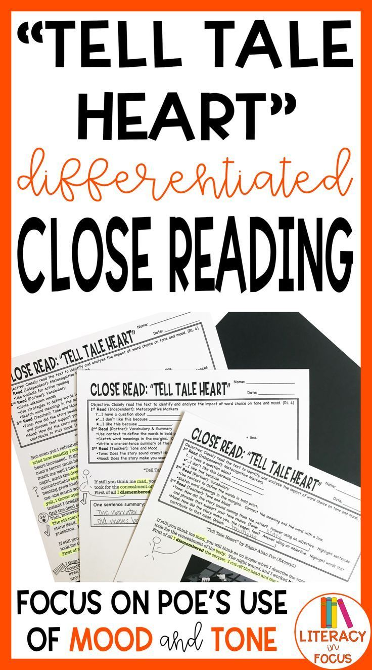 Tell Tale Heart Differentiated Close Reading Printable Digital
