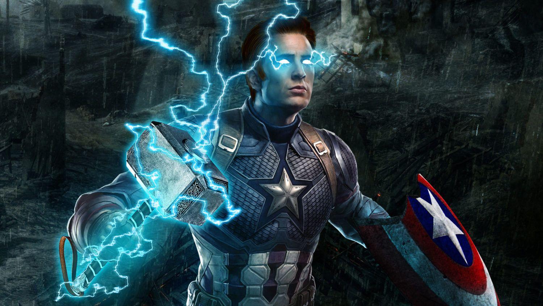 Il Martello Di Thor Nelle Mani Di Captain America Nella Foto Esclusiva Di Avengers Endgame Captain America Wallpaper Avengers Avengers Wallpaper