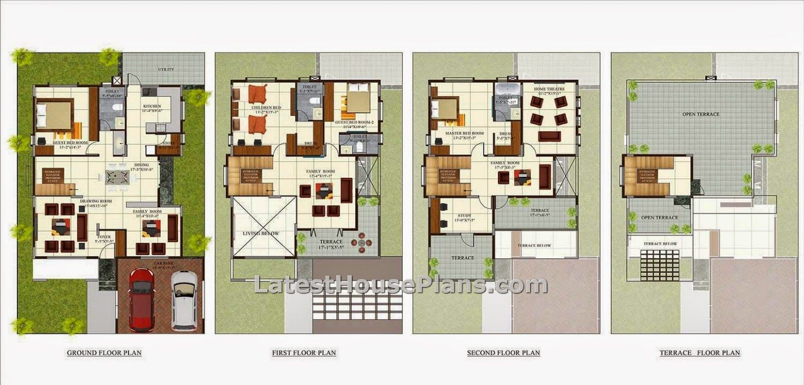 Superieur 3 Bedroom Floor Plans India: Find The Above Image For Four Floor Luxury  Villa House Plans In Bangaloreindia Above Is The Four Bedroom House Having  Two Cars ...