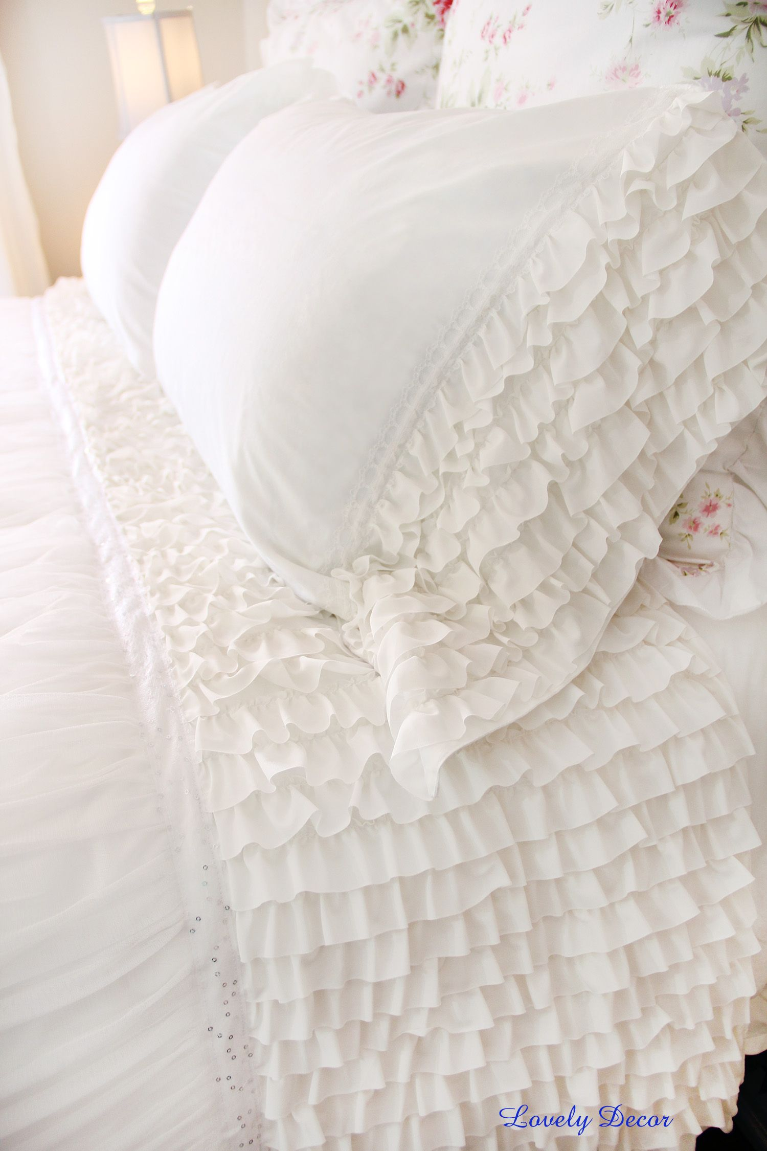 White Lace Overlay Ruched Duvet Cover Set White Ruffle Bedding