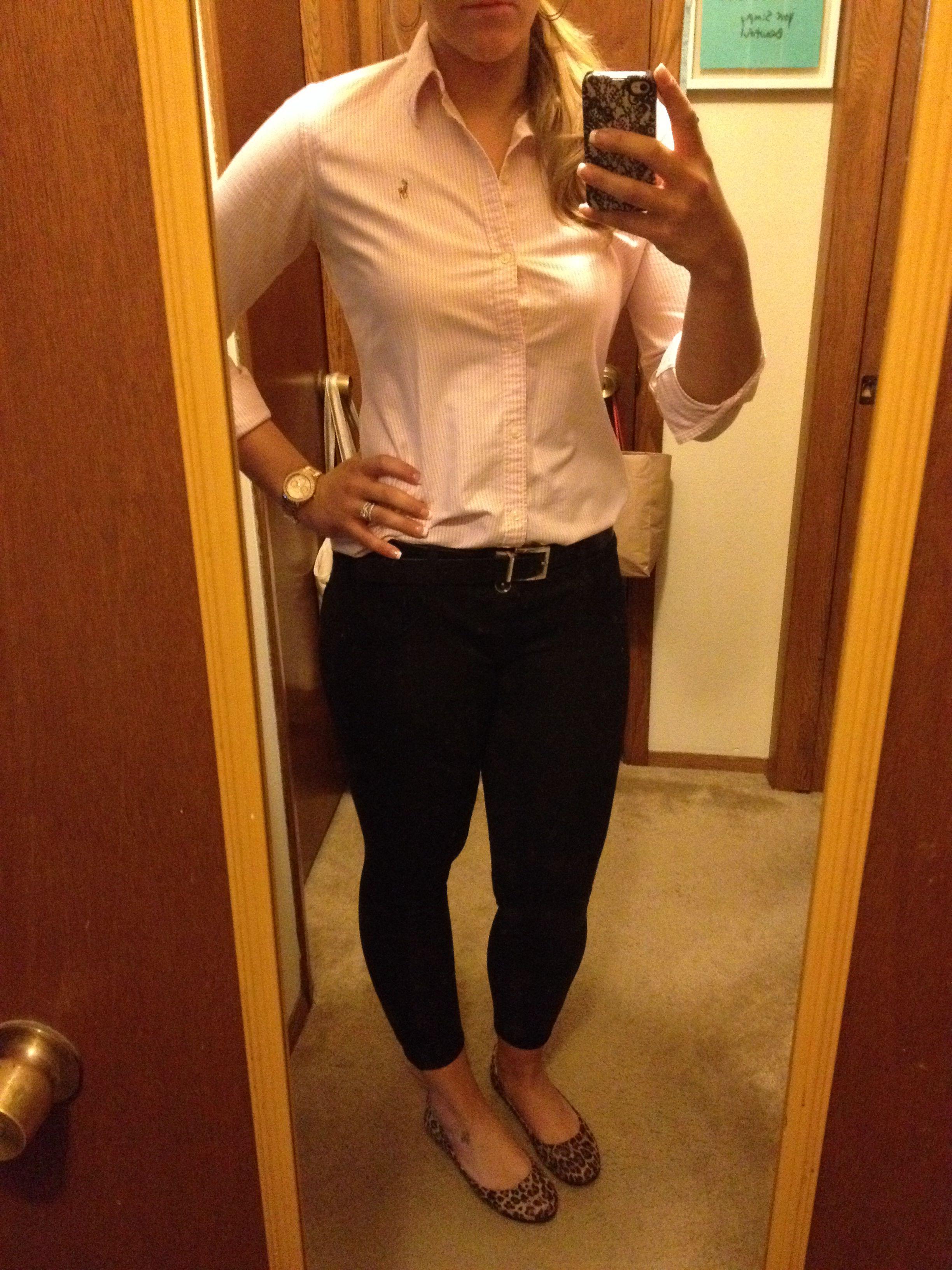 a9c05fe4b5f Business Casual Work Outfit  31 Pants and Belt- Kohls Shoes- Target Shirt-  Ralph Lauren