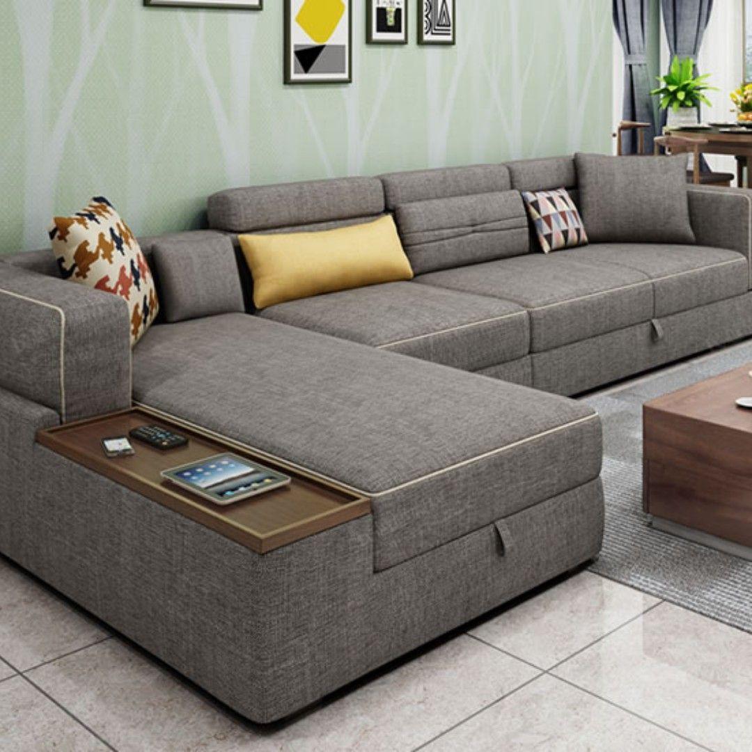 L Shape Sofa Set With Storage Baci Living Room In 2020 Living Room Sofa Design Living Room Sofa Set Sofa Bed Design