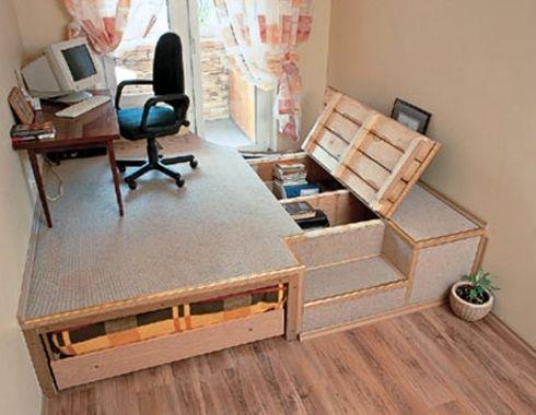Podium v komnate 09 lit estrade plateform storage bed - Comment faire un lit escamotable ...