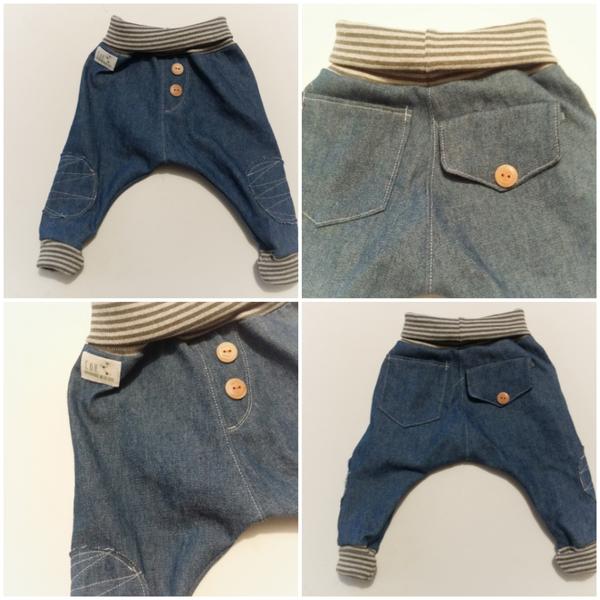 Photo of supercoole bequeme baby jeans pumphose mit weichem jersey bund und bündchen  ha…