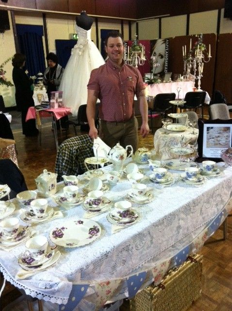 Mr S with Ruby's vintage china