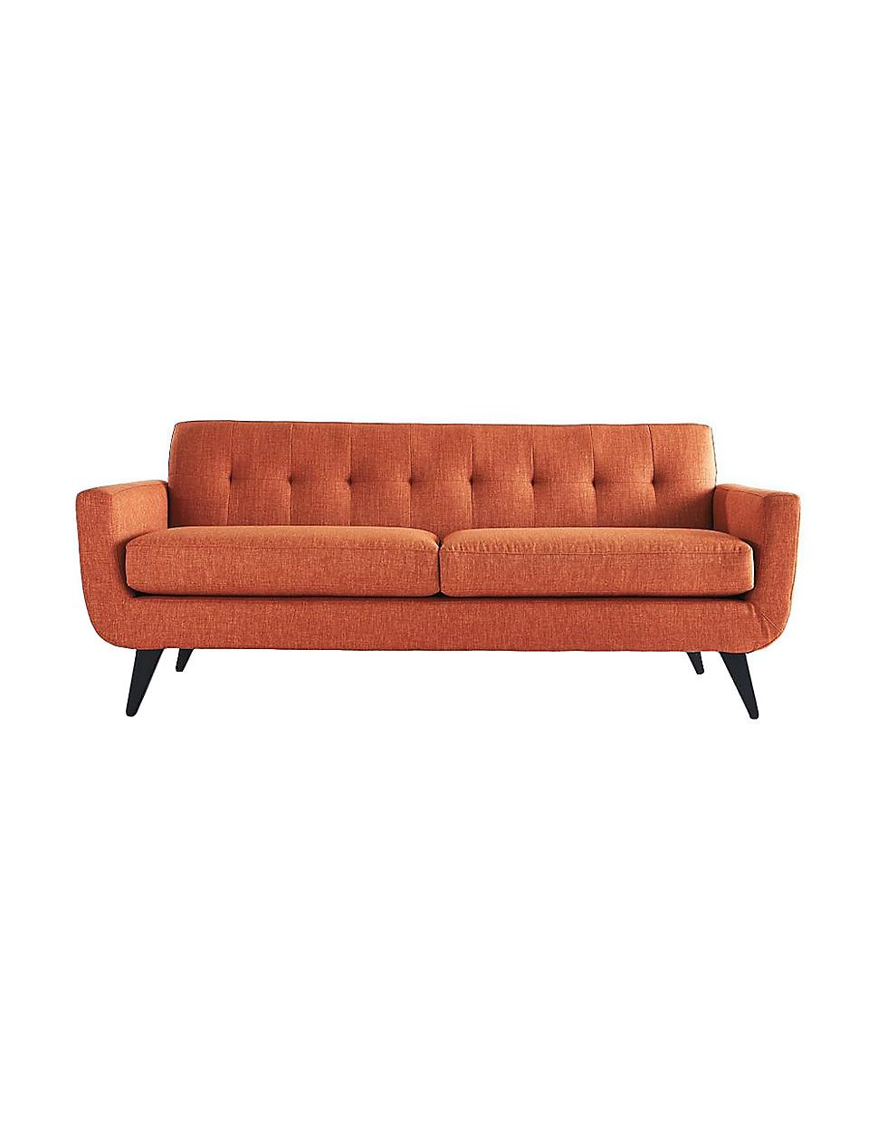 mid century modern sofa love the pumpkin orange colour home living hudson sofa with. Black Bedroom Furniture Sets. Home Design Ideas