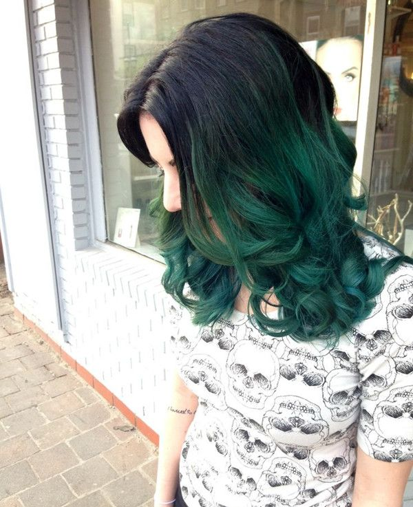black to turquoise ombre hair - photo #13