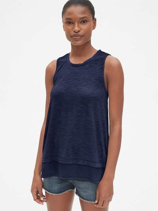 39a94f3b68f086 Gap Women's Layered Mix-Fabric Tank Top Mist Blue in 2019 | Products