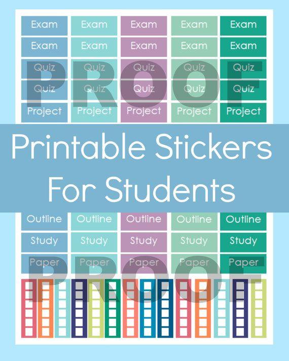 School Stickers Erin Condren, Planner Stickers Printable School, School Stickers Planner, Student Planner Stickers, Planner Stickers College