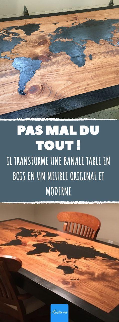 il transforme une banale table en bois en un meuble. Black Bedroom Furniture Sets. Home Design Ideas