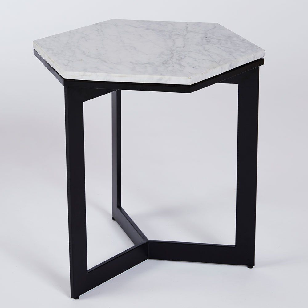 Best Rebecca Hex Side Table Black Steel Base With Carrara 400 x 300