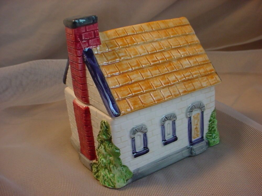 Best Enesco House Sugar Bowl 4 Inch Ceramic White Brick W Cedar 400 x 300