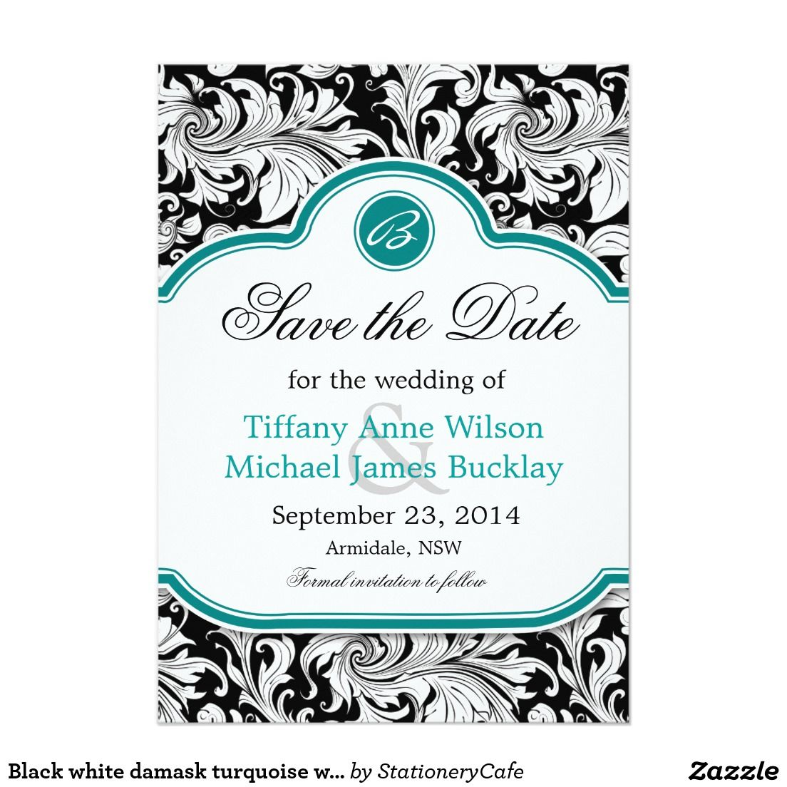 Black white damask turquoise wedding save the date card | White ...