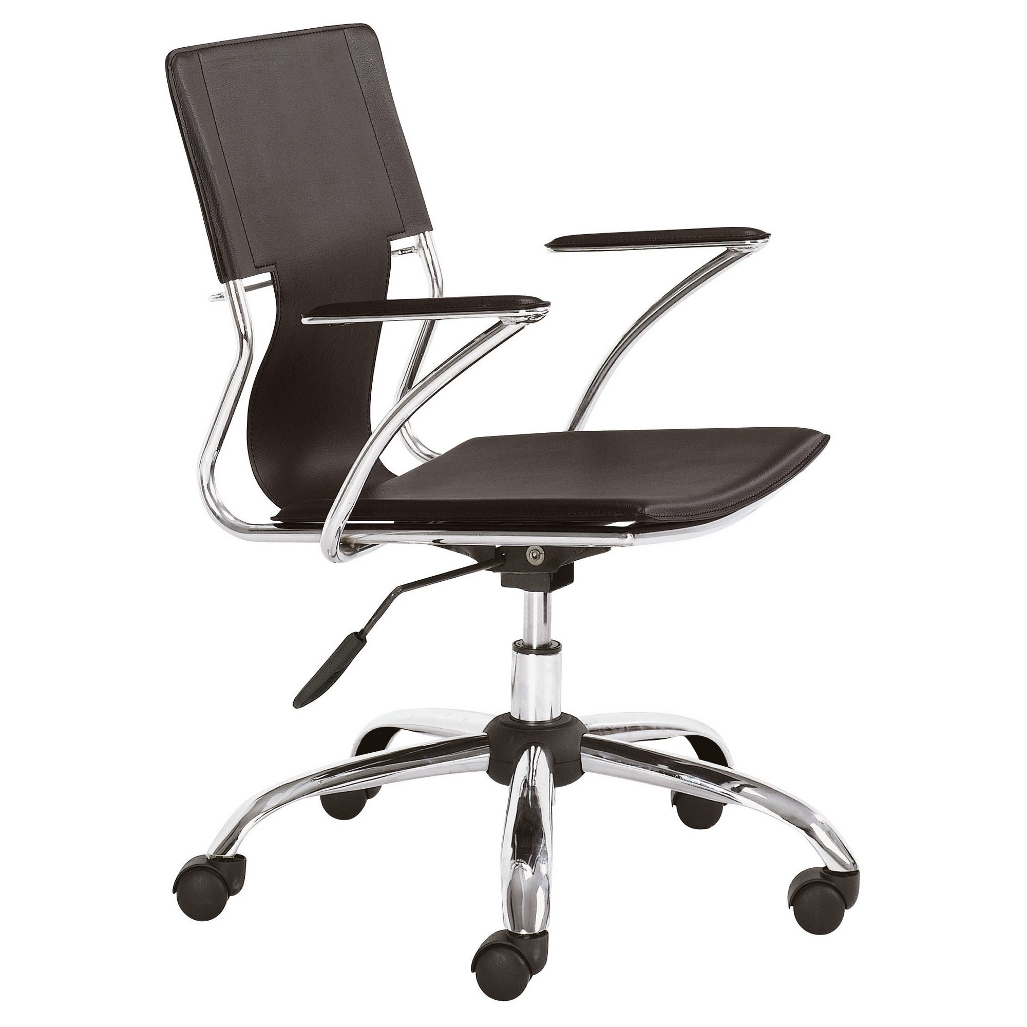Modern Chromed Steel Adjustable Office Chair Espresso Zm Home Modern Office Chair Black Office Chair