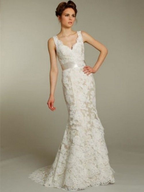 A-line V-neck Lace Sleeveless Sweep/Brush Train Lace Wedding ...