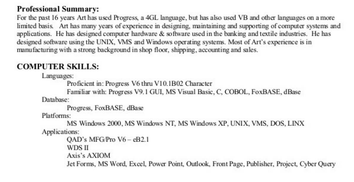This image is a close up on the professional summary section of a - resume professional summary examples