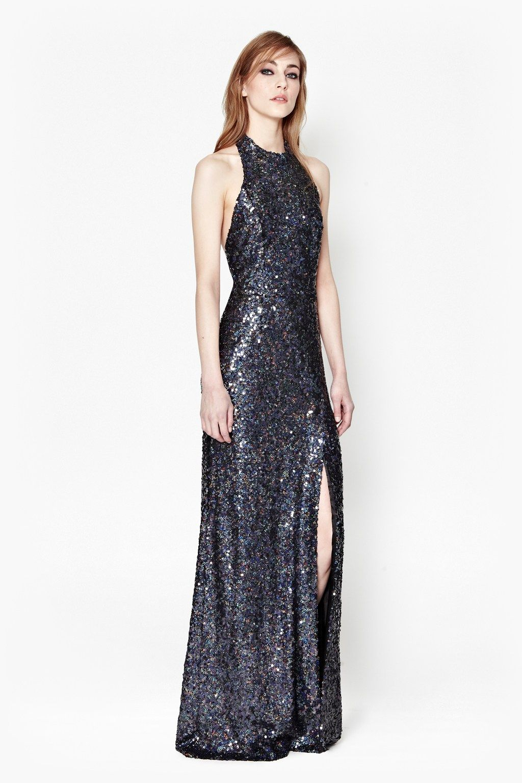 lovely hair and makeup // Lunar Sparkle Sequin Maxi Dress | Sequin Dresses | French Connection Usa