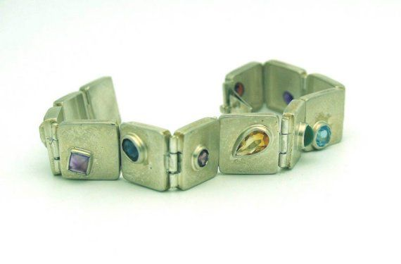 Multi gemstone bracelet in sterling silver by LINKjewelryinc