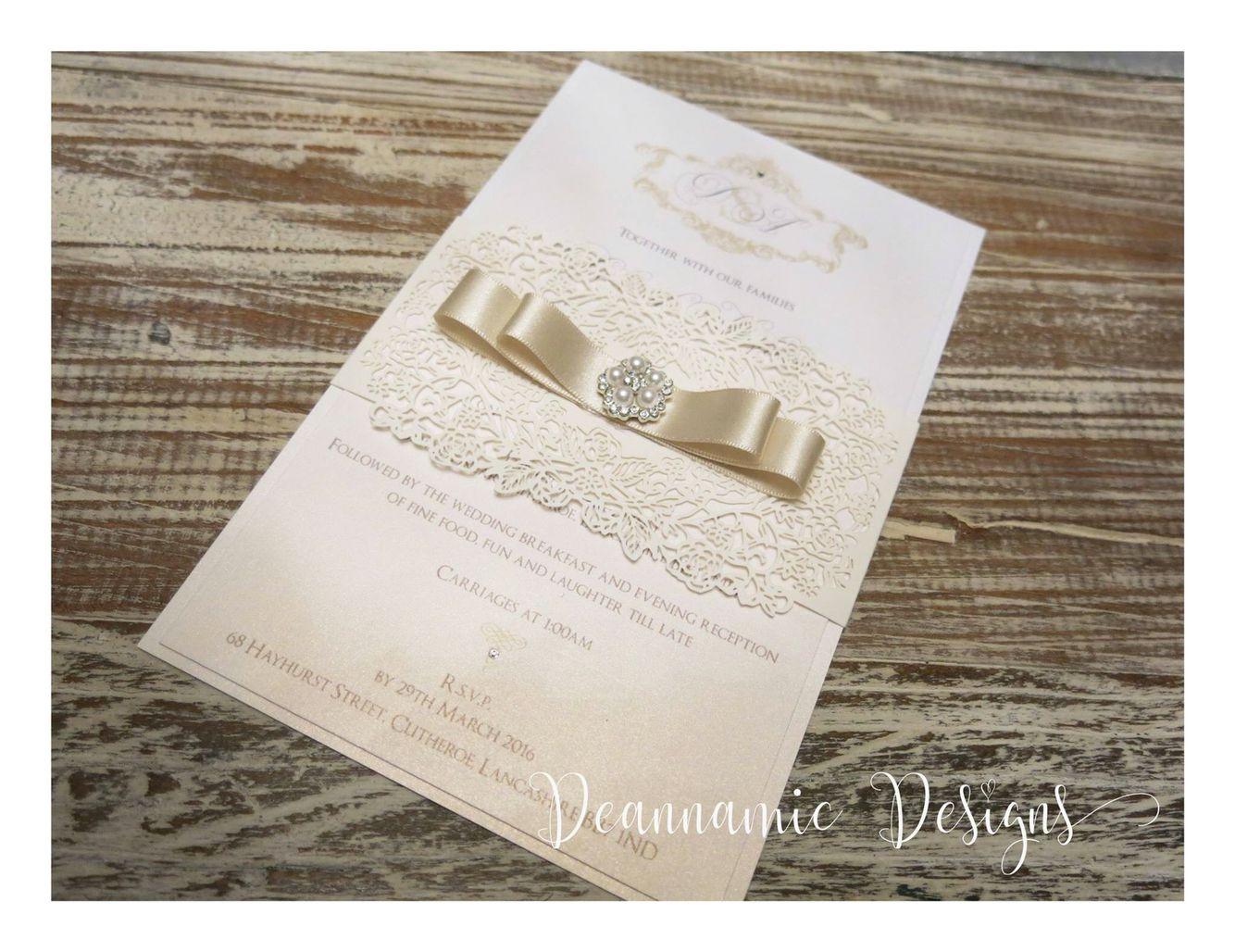 Cream and gold laser design wedding invites