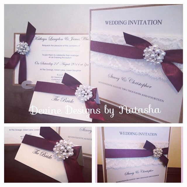 Pocketfold wedding invitation with matching stationery, finished in wine ribbon and diamanté embellishment