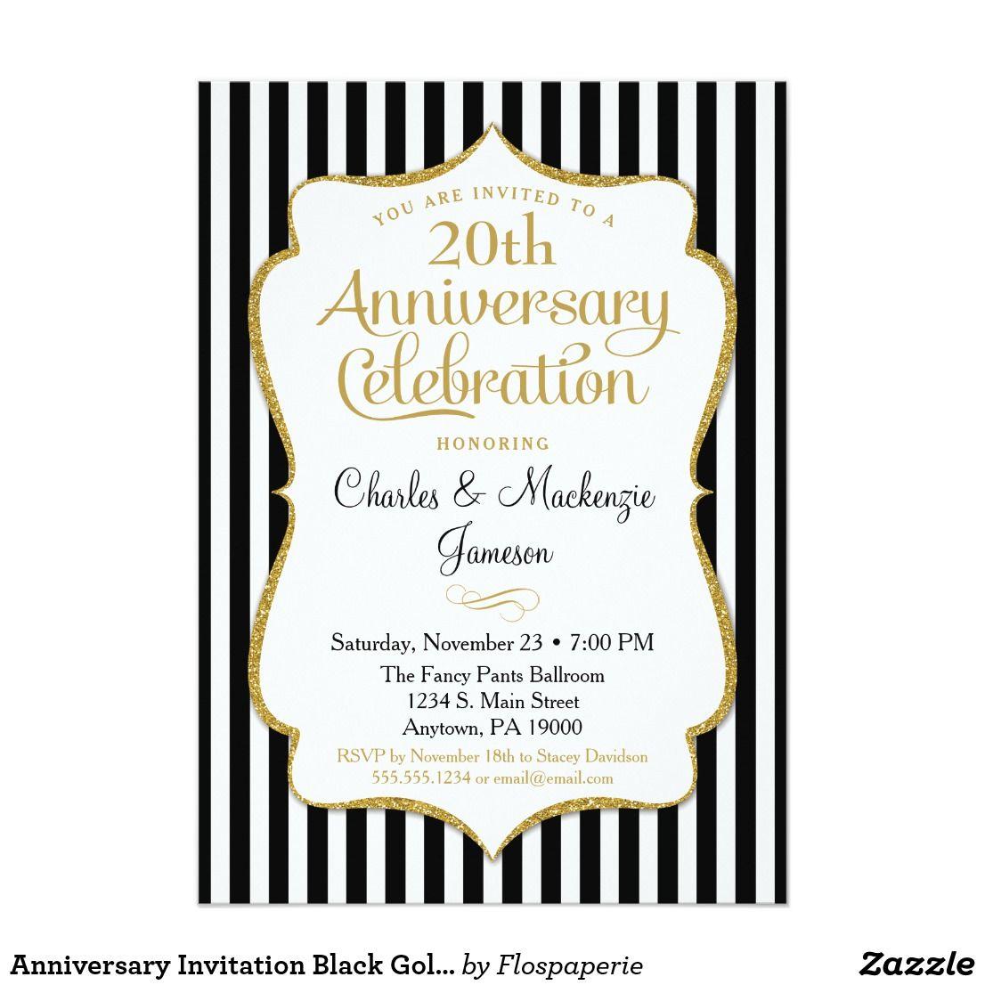 Anniversary Invitation Black Gold Elegant Stripe 50th Anniversary