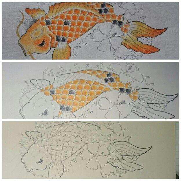 Proceso dibujo pez koi lpices de colores  Mis dibujos  Pinterest